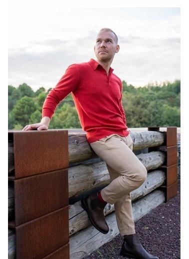 Silk and Cashmere Saf Kaşmir Düğmeli Polo Yaka Uzun Kollu Kazak Kırmızı